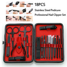 18pcs Stainless Steel Pedicure Professional Nail Clipper Set Manicure Tool Kit
