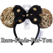 Disney Parks Paris Minnie Mouse Gold Sequin Ear Black Polka-Dot Bow Headband NEW