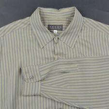 SULKA Green Blue Striped 100% SILK Mens Casual Dress Shirt - XL