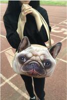 Mops Hund Handtasche Tasche Damenhandtasche Umhängetasche 3D Neu groß