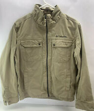 Columbia Sportswear Company Zip Front Size M 100% Cotton Beige 4 Pockets Lined