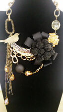 Graceful Antique Gold Plate Feather Cute Bird Black Knit Flower Chunky Necklace
