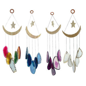Natural Agate Slice Wind Chimes Healing Reiki Ornament for Garden Home Decor