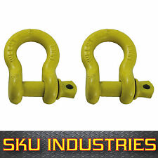 Shackle 13mm Yellow Pin Bow Shackle S Rated WWL 2.0T 4WD Boat Trailer Pack of 2
