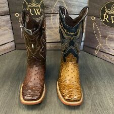 MEN'S BROWN OSTRICH QUILL LEATHER WESTERN RODEO EXOTIC COWBOY SQUARE TOE BOTAS