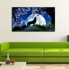50×90×3cm Moon Wolf Canvas Prints Framed Wall Art Home Decor Painting Gift II