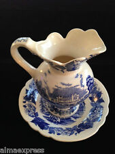 Small Pitcher & Bowl Set, Blue Delft-style, Wash Basin Milk Creamer Syrup Plate