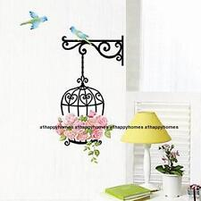 Pink Rose Flowers Flying Birds Cage Wall Stickers Art Decal Babys Bedroom LOUNGE