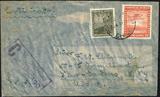540 CHILE TO US REGISTERED AIR MAIL COVER 1948 SANTIAGO - JAMAICA, NY