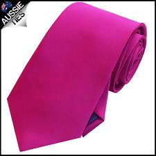 MENS FUSCHIA / MAGENTA PINK 8.5CM TIE necktie wedding bright cerise fucshia