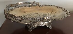 Antique Pairpoint silver-plate basket bowl floral 1257