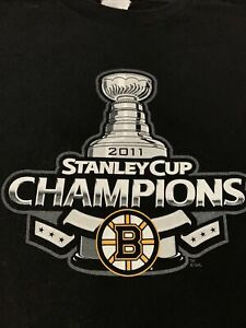Boston Bruins 2011 Stanley Cup Champions Reebok Youth L 14/16 T Shirt Double Sid