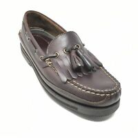 Men's NEW Bass Boat Shoes Loafers Size 8 Brown Leather Kilt Tassels Slip On F14