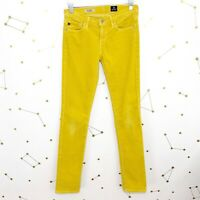 AG Adriano Goldschmied Stevie Jeans Size 25 Yellow Corduroy Slim Straight Pants