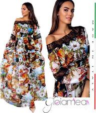 151736d760cf Abito Donna Vestito Lungo Particolare Fantasia Paesaggio Casual Elegante  Tunica
