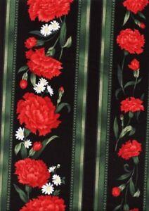 Easy Striped Table Runner Quilt FABRIC KIT w/TT Carnation & Daisy  Black Stripe