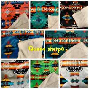 Native american  Indian Navajo Print queen Blanket Sherpa