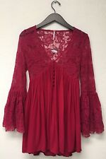 NEW Free People With Love From India Red Lace Bell Sleeve Dress Size XXS (3)