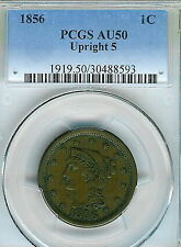 1856 Braided Hair Large Cent : PCGS AU50 Upright 5