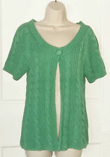 White Stuff~Jade green short sleeved cable knit cardigan cotton-Size 14