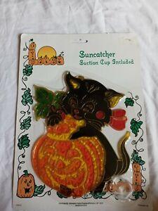 Vintage Halloween Sun catcher Window Hanging Black Cat Jack-o'-lantern Fall
