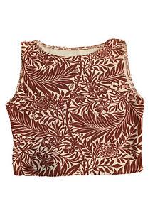 Black Milk Red Filigree Floral Crop Top Sample Size L Fleece Lined