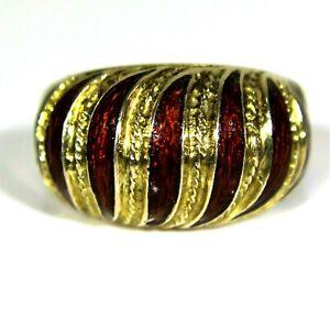 Vintage Enamel Bombe 12ct Yellow Gold Band Ring size L ~ US 5 3/4