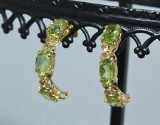 14K Yellow Gold 2.76CTW Oval Cut Green Peridot Hoop Earrings