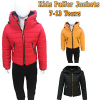 Unisex Kids Quilted Padded Puffer Bubble Fur Collar Warm Thick Boys Girls Jacket