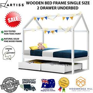 Wooden Bed Frame Single Size 2 Drawer Underbed Storage House Shape for Kids BALI