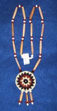 "Beaded 2.25"" Rosette Necklace w/ Bone Hairpipe  Native American Regalia #12"