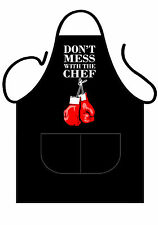 UNISEX BLACK NOVELTY APRON,BBQ, DON'T MESS WITH THE CHEF!  FOR BOSS OF KITCHEN!