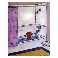 Dachshund taking a shower bath bathroom  dog art print gift gifts 8.5x11