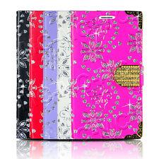 Bling Diamond Magnetic Cover Flip Leather Wallet Pocket Case For Smart Phones