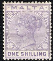 Malta 1885 Pale-violet 1/- crown CA mounted mint  SG29