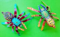 Vintage Colorful Metal Mexican Folk Art Spider Wall Hangings Art Sculptures