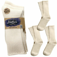 Maggie's Organic Socks Cotton Crew Tri-Pack (3 PACK) Made in USA White - NEW
