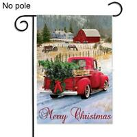 Merry Christmas Red Truck with Gifts Double Sided Winter Gift Garden Flag L9X4