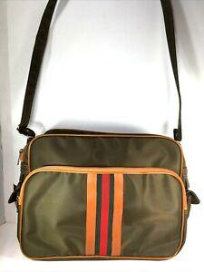 "Mr Roberts RARE Vtg Olive Green Carry On Travel Bag w/ Green Red ""Status Stripe"""