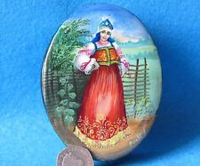 Russian Hand Painted Trinket LACQUER Box Beauty at the fence signed Kotova