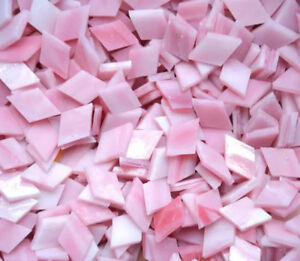 Rhombus Pink Glass Mosaic Tiles for Crafts Colorful Stained Glass Pieces DIY Art