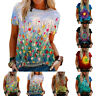 Women Short Sleeve Blouse Tees Printed T Shirts Tunic Crew Neck Tops Apparel NEW