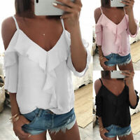 Special Design Ladies V-Neck Short Sleeve Ruffle Blouse T-Shirt Loose Solid Top