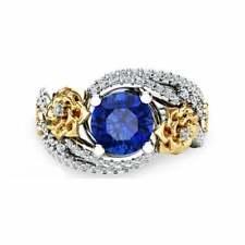 Accent Stones 14k multicolor Gold sz9 Ring; Blue Zircon Stone Crystal Zirconia