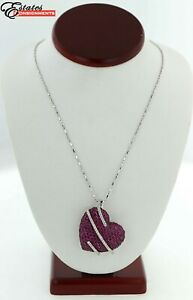 Effy Ruby and Diamond 18 inches Large Heart necklace