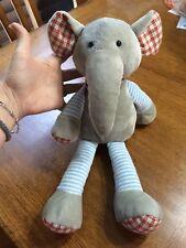 Jellycat Elephant Plush Happy Patches Grey Blue Stripe Red Plaid Stuffed Animal