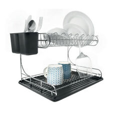 2 TIER CHROME-DISH-RACK-DRAINER-HOLDER SINK-DRYING WITH BLACK-DRIP-TRAY CUTLERY