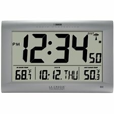 Large Atomic Digital Wall Clock In Out door Temperature Alarm Time Date Zone New