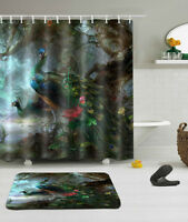 "72/79"" Beautiful Peacock Shower Curtain Liner Bathroom Mat Set Waterproof Fabric"