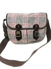 Harris Tweed Pink & Grey Plaid Wool Handbag,Glenalmond Perth Scotland